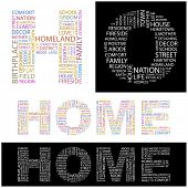 HOME. Word collage. Illustration with different association terms.