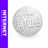 INTERNET. Globe with different association terms.