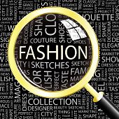 FASHION. Magnifying glass over seamless background with different association terms. Vector illustra