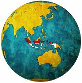 Indonesia Flag On Globe Map