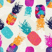 Color Retro Pineapple Seamless Pattern For Summer poster