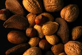 pic of nutter  - various assorted nuts on a black background - JPG