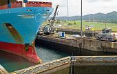 Container Ship in Panama Canal - Gatun Locks