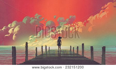 poster of Beautiful Scenery Of The Woman Standing Alone On A Wooden Pier Looking At Colorful Clouds In The Sky