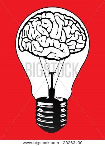 Brain Light Bulb Vector Poster