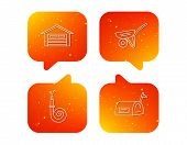 Mailbox, Garage And Fire Hose Icons. Trolley Linear Sign. Orange Speech Bubbles With Icons Set. Soft poster