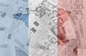 Outline Map Of France With Transparent Euro Banknotes In Background And French Flag