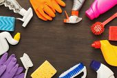 Spring Cleaning Background. Assortment Of Colorful Spray Detergents, Sponges, Rags And Other Supplie poster