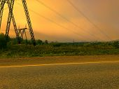 Power Transmission Line Of Powerful Power Plant. Power Line In The Sunset. In The Background You Can poster