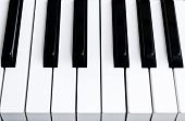 Top View Of Piano Keys. Close-up Of Piano Keys. Close Frontal View. Piano Keyboard With Selective Fo poster