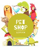 Pet Shop Background With Green Round Frame, Animals, Food, Medicines, Canine Home And Aquarium Vecto poster