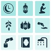 Religion Icons Set With Holy Book, Financial Assistance, Worship And Other Beneficence Elements. Iso poster