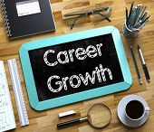 Career Growth Concept On Small Chalkboard. Small Chalkboard With Career Growth Concept. 3d Rendering poster