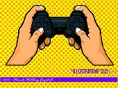 image of video game  - A vector of hands holding a joystick - JPG
