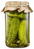 Pickled cucumbers in the glass can. File contains clipping path. poster