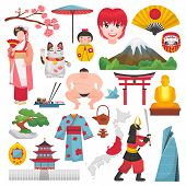 Japan Vector Japanese Culture And Geisha In Kimono With Blossom Sakura In Tokyo Illustration Set Of  poster