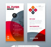 Dl Flyer Design. Red Business Template For Dl Flyer. Layout With Modern Circle Photo And Abstract Ba poster