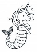 Cute Unicorn Mermaid Vector Coloring Page Cartoon Illustration. Magical Creature With Unicorn Head A poster