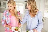stock photo of sulky  - Mother and teenage daughter arguing about housework - JPG