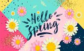 Hello Spring Banner. Trendy Texture. Season Vocation, Weekend, Holiday Logo. Spring Time Wallpaper.  poster