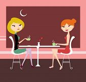 two girl in cafe