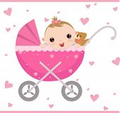 foto of teats  - Baby girl sitting in carriage and waiving hello - JPG