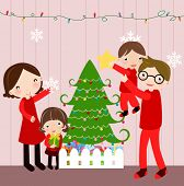 Illustration of happy family at christmas