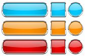 Glass Buttons With Chrome Frame. Set Of Colored Shiny 3d Web Icons. Red, Orange And Blue. Vector Ill poster