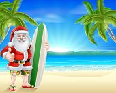 Cartoon Santa Holding A Surfboard And Giving A Thumbs Up In His Board Shorts And Sandals On A Beach  poster