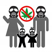 Opposing Legal Cannabis. Family With Gasmasks Against The Legalization Of Weed For Health Reasons, D poster