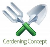 A Crossed Garden Fork And Trowel Spade Gardeners Gardening Tools Icon poster
