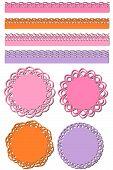Set of paper lace design elements