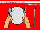 Hands Holding Spoon Fork & Knife