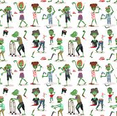 Colorful Zombie Scary Cartoon Halloween Magic People Body Fun Seamless Pattern Background Green Char poster