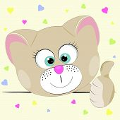 Good Cute Cat. Greeting Card. Yellow Background poster