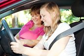 Teenage girl eager to start a driving lesson with her mother or an instructor.