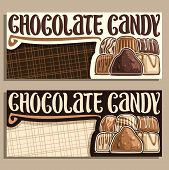 Vector Banners For Chocolate Candy With Copy Space, Pile Of Swiss Praline, Belgian Bonbon Covered Of poster