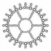 Clock Wheel Collage Of Vector Gears. Vector Cog Wheel Parts Are Grouped Into Clock Wheel Collage. poster