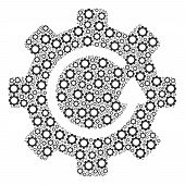 Gear Rotation Composition Of Tooth Gears. Vector Cogwheel Parts Are United Into Gear Rotation Mosaic poster