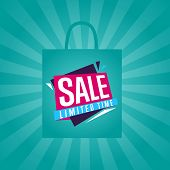 Limited Time Sale Sticker On Package Illustration. Exclusive Offer Tag, Price Discount Poster, Adver poster