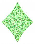 Diamonds Suit Mosaic Of Small Circles In Variable Sizes And Eco Green Shades. Round Dots Are Compose poster
