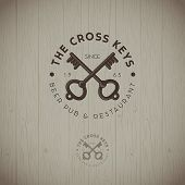 Cross Keys Pub Logo. Two Keys With Letters Emblems On A Wood Background. Keys Icon. poster