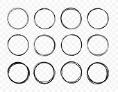 Set Hand Drawn Circle Line Sketch Set. Circular Scribble Doodle Round Circles For Message Note Mark  poster