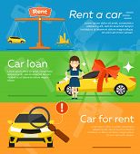 Rent A Cars And Trading Cars In Flat Design Web Banners Elements. Keys To The Car On Rent. Rental Ca poster