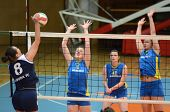 KAPOSVAR, HUNGARY - APRIL 24: Barbara Balajcza (8) blocks the ball at the Hungarian NB I. League wom