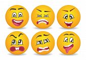 Smileys With Different Face Expression Stuck. Happiness, Anger, Joy, Fury, Sad, Playful, Fear, Surpr poster