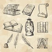 Literature Concept Pictures. Vintage Hand Drawings Books And Different Tools For Writers. Literature poster