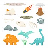 Dinosaurs, Stones And Other Different Symbols Of Prehistoric Period. Dinosaur And Meteorite Stone, P poster