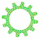 Cogwheel Mosaic Of Circle Elements In Variable Sizes And Eco Green Color Tones. Vector Filled Circle poster