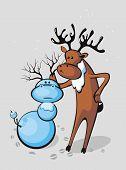 Deer Sculpts Snowman-deer